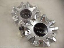 Avarus Silver Custom Wheel Center Caps # MS-CAP-Z216 / Z215 / AV-3 (2 CAPS)