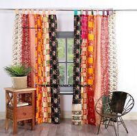 Alt Seide Sari Saree Hippie Multi Vorhang Tür Drapiert Dekor Vorhänge Indian 2pc