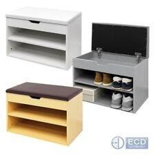 Banco de almacenamiento armario de Zapatos de nivel 2 Acolchado Asiento Taburete Organizador Blanco Marrón Gris
