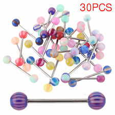 30 X Tongue Bars Surgical Steel Barbell Rings Mixed Ball Body Piercing Jewellery