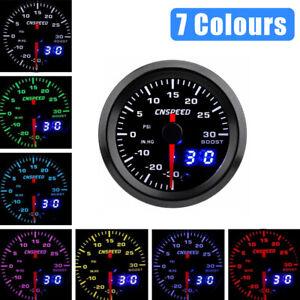 """2"""" 52mm 12V 7 Color Car Turbo Boost Gauge Pointer Digital LED PSI Pressure Meter"""