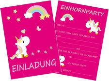 12 Stück Einhorn Einladungskarten Set Kindergeburtstag Geburtstag Einladung  E001