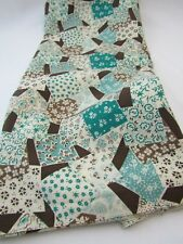 Vintage Cotton Blend Fabric Robins Egg Blue Brown Atomic Decor Quilt 1.5 YDS