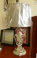 Table Lamp with Shade Vintage Driftwood Verdigris Finish-Last One!