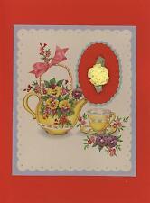 VINTAGE GARDEN FLOWER PANSY PANSIES TEA POT CUP SAUCER COLLAGE ART PICTURE PRINT