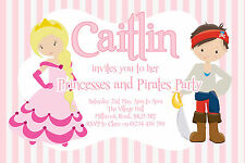 10 PERSONALISED PRINCESSES AND PIRATES PARTY INVITATIONS, GIRLS PRINCESS INVITES
