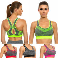 Womens Padded Bra Workout Gym Push-Up Crop Top Stretchy Seamless M-2XL FG3927