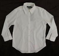 $79 Ralph Lauren LRL Button Down Non Iron White Blouse Dress Shirt PS Petite S