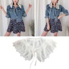 Fashion Women Bandage Lace Blouse Fake False Collar Shirt Detachable Doll Collar