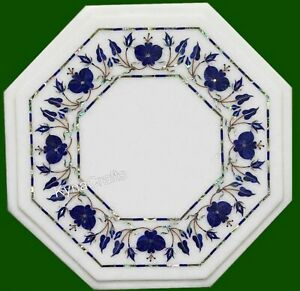 12 Inches Marble Corner Table Blue Flower Pattern Coffee Table Top for Home
