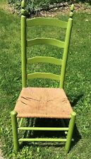 Vintage Ladderback Rush (Damaged) Seat Chair Decorative Green Painted