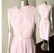 Vintage 50s 60s Sheath Belted Pale Pink Cocktail Tea Party Dress M + L