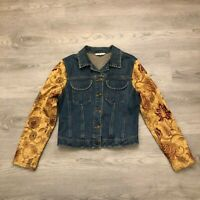 Cabi Womens Blue Jean Jacket Floral Knit Sleeves Size Small