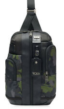 Tumi Higgins Sling Bag Crossbody Backpack Camouflage with Black Leather Trim