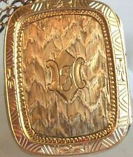 VICTORIAN ETCHED GOLD FILLED F INITIAL LOCKET Necklace  estate jewelry