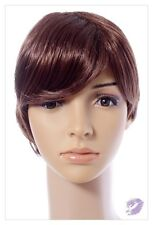 Short Mahogany Brown Synthetic Hair Wig Fashion Costumes Roleplay