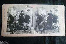 STA796 Peur des souris rats monter chaise albumen Photo stereoview 1900