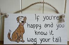 Shabby Chic Dog Plaque by Driftwood Daisies If You're Happy Wag Your Tail.