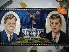 Vtg Wall Tapestry Robert & John F. Kennedy US President