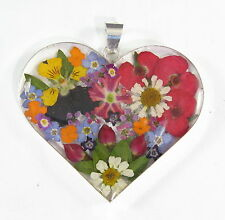 925 sterling silver large heart pendant with real flowers pattern 2