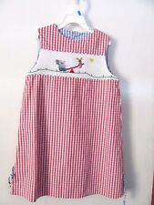 GIRL'S SMOCKED DRESS - SIZE 6 - RED/WHITE WITH SEESAW - ELEPHANT & MOUSE