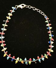 Silver Tone Chain Seed Bead Thin Colorful Single Line Bracelet Lobster Clasp
