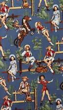 AH218 Sexy Pin Up Girl Cowgirl Horse Saddle Cactus Western Cotton Quilt Fabric