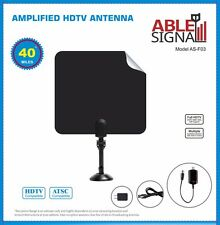 AMPLIFIED INDOOR THIN FLAT HDTV TV ANTENNA 40 MILES 5dB GAIN VHF UHF WITH STAND