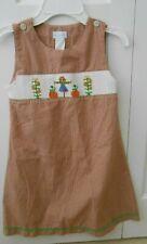 26aeabe1de Vive La Fete Smocked Jumper   Dress Fall Scarecrow Pumpkins Girl s Size 5  EUC