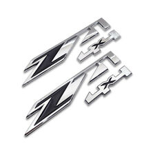 2x Silver&Black Z71 4X4 Emblem Off-Road Badge Side Sticker Decal For Chevy GMC