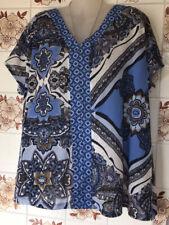 Next Blue Black Tunic Top - Size 14 - V Neck Front/Back