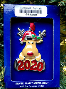 New 2020 Santa Rudolf Red Reindeer Ornament Harvey Lewis Swarovski Crystals