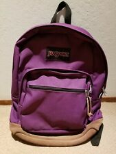 JANSPORT Originals Leather Bottom Purple Backpack 90s Style Classic Travel Bag