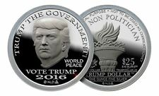"1oz 2016 Trump 999 Fine Silver Bullion Round Norfed $25 ""Trump the Government"""