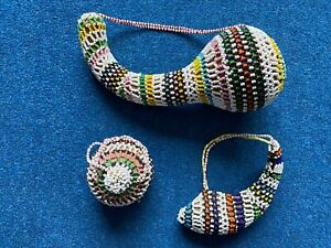 Vintage Authentic S. African Zulu Beaded Gourd & Snuff Fruit Gourd. 3 items. VGC