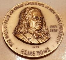 HALL OF FAME GREAT AMERICANS USA ELIAS HOWE BRONZE MEDAL NY UNIVERSITY