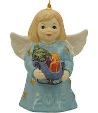 Goebel Angel Bell 2015 Nib Ice Blue Dress Angel Holding Sleigh 110301 New In Box