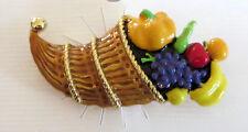 Cornucopia Pin Pumpkin Grapes Banana Fruit Horn of Plenty Brooch New Apple Pear