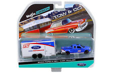 2004 FORD F-150 PICKUP TRUCK BLUE #15 & CAR TRAILER TOW & GO 1/64 MAISTO 15368-J