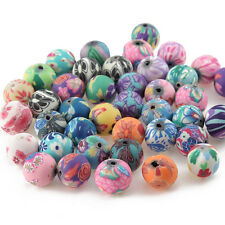 50pcs Mixed Polymer Clay Flower Pattern Beads DIY Bracelet Necklace Jewelry 12mm