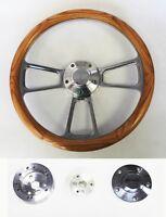 "Nova Chevelle Impala El Camino Steering Wheel Oak Wood and Billet 14"" SS Cap"