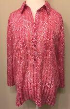 Chico's Blouse Women's XL Tunic Semi Sheer Top Pink Polka Dot Roll Tab Slv J18