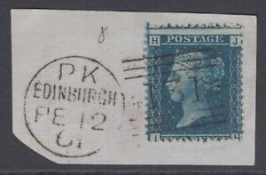 "GB QV 2d Blue SG45 Plate 8 ""JH"" Used Stamp on a small piece Edinburgh Scotland"