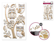 Foil Shimmer Embossed OWLS on branches 6 wall stickers 3-D decals silver & gold