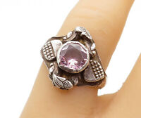 925 Sterling Silver - Vintage Pink Topaz Love Hearts Band Ring Sz 7 - R15016