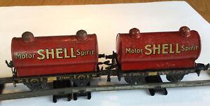 Pair Of German Bing Vintage tin plate motor shell tanker spirit No 65 O gauge