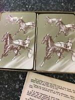 Vintage 50s Hamilton 2 DECK PLAYING CARDS Horse racing CANASTA Full Arrco Instru