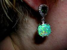 Ohrringe funkelnder grüner Feueropal in 925 Sterling Silber Smaragde und Zirkoni