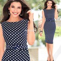 Plus Size Womens Vintage Swing 50s Rockabilly Polka Dot Housewife Party Dress