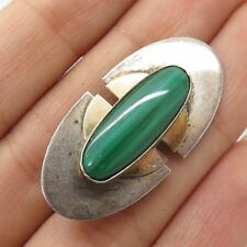 Vtg 925 Sterling Silver Real Malachite Gemstone Modernist Handmade Pin Brooch